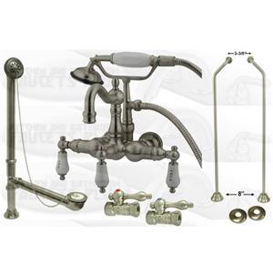 Kingston Brass Clawfoot Tub Faucet Kit - Satin Nickel - CCK1011T8-DO