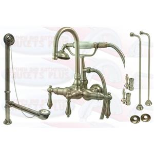 Kingston Brass CCK7T8 Satin NickelClawfoot Tub Faucet Kit With Drain, Supplies & Stops