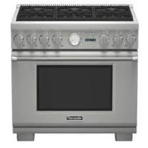 "Thermador Pro Grand 36"" Pro-Style 6 Sealed Burners Dual-Fuel Range PRD366JGU"