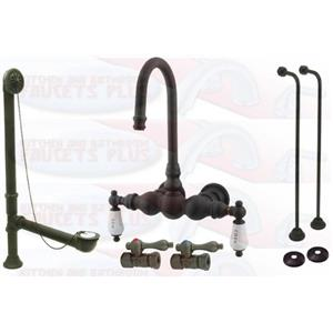 Kingston Brass Cck3t5 Oil Rubbed Bronze Clawfoot Tub Faucet Kit With Drain Supplies Stops