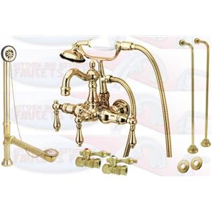 Kingston Brass Clawfoot Tub Faucet Kit Polished Brass - CCK1007T2