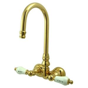 """Kingston Brass CC73T2 Vintage 3-3/8"""" Center Wall Mount ClawFoot Tub Faucet - PVD Polished Brass"""