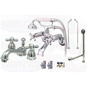 Kingston Brass Chrome Clawfoot Tub Faucet Kit - CCK265C-D-KS3951AX