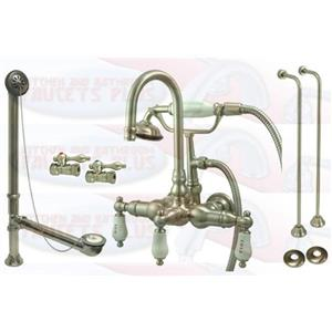 Kingston Brass CCK9T8 Satin NickelClawfoot Tub Faucet Kit With Drain, Supplies & Stops