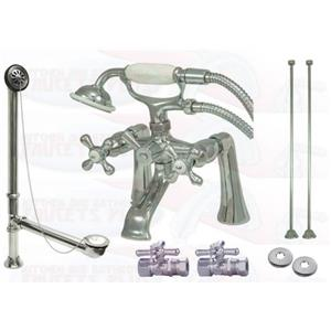 "Kingston Brass CCK268C 7"" Deck Mount Claw Foot Tub Filler-Shower Mixer Kit - Polished Chrome"
