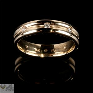 Unique 14k Yellow Gold Round Cut Diamond 4.3mm Eternity Wedding Band .25ctw