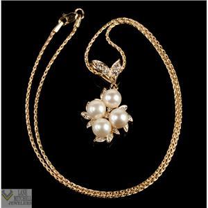 """Beautiful Unique 14k Yellow Gold Pearl & Diamond Cluster Pendant W/ 18"""" Chain"""