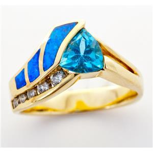 Unique 14k Yellow Gold Blue Topaz Solitaire Ring W/ Opal & Diamond Accents