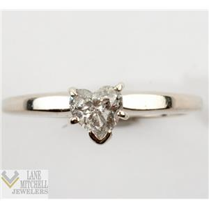Lovely 14k White Gold Heart Cut Diamond Solitaire Engagement Ring .45ctw