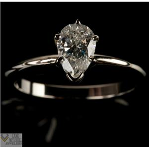 Lovely 14k White Gold Pear Cut Diamond Solitaire Engagement Ring .75ctw