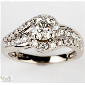 Stunning 14k White Gold .55ct Diamond Bypass Egagement / Wedding Ring .95ctw