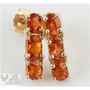 Lovely 10k Yellow Gold Oval Cut Orange Sapphire Stud/Drop Earrings 1.46ctw