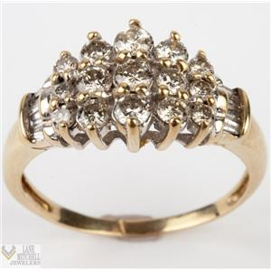 Dazzling 14k Yellow Gold Round Cut Diamond Cluster Cocktail Ring 1.20ctw