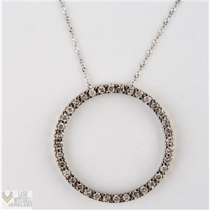 "Classic 14k White Gold Open Circle Diamond Pendant w/ 18"" Chain .72ctw"
