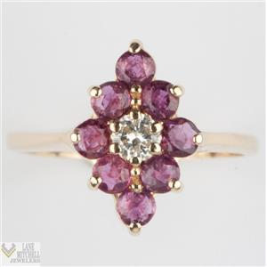 Lovely 14k Yellow Gold Round Cut Ruby & Diamond Cluster Ring 1.16ctw