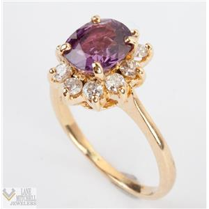 14k Yellow Gold Pink / Purple Tourmaline Ring w/ Diamond Halo Accents 2.3ctw