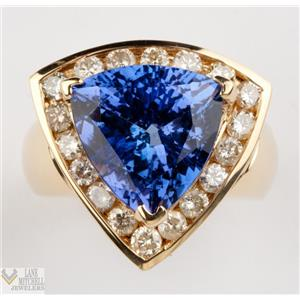 Stunning 18k Yellow Gold Trillion Cut Tanzanite, Diamond Cocktail Ring 10.08ct
