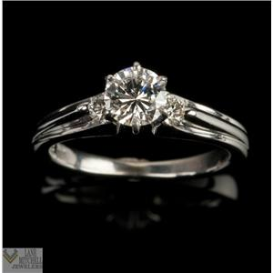 Diamond Solitaire Platinum Engagement Ring W/ Diamond Accents G VSI .70ctw