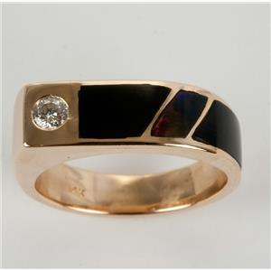 Men's Custom Hand Made 14k Yellow Gold Onyx/Black Opal/Diamond Inlay Ring .55ctw