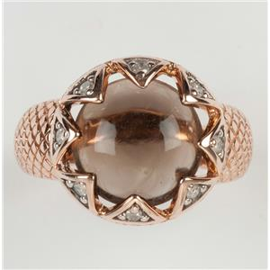 Ladies 14k Rose Gold Round Cabochon Cut Smokey Quartz Solitaire Ring 4.15ctw