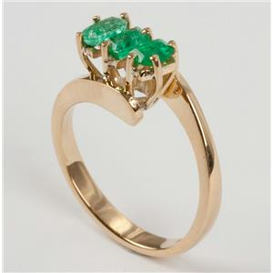 Ladies 18k Yellow Gold Emerald Cut Three Stone Emerald Ring .60ctw