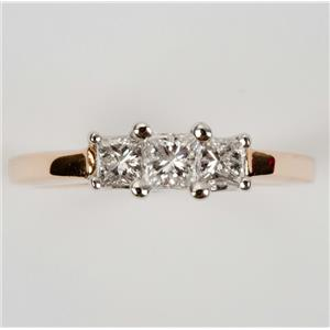 Ladies 14k Yellow Gold & Platinum Three Stone Diamond Engagement Ring .40ctw