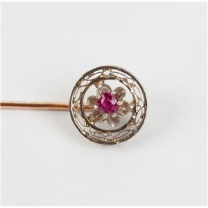 Beautiful Vintage Circa 1910's 14k Yellow Gold Round Cut Ruby Pin .15ctw
