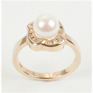 14k Yellow Gold 7.25mm Fresh Water White Pearl Solitaire Ring W/ Diamond Accents