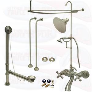 Satin Brushed Nickel Clawfoot Tub Faucet Kit  Faucet, Shower Enclosure W/Head, Drain & Supply