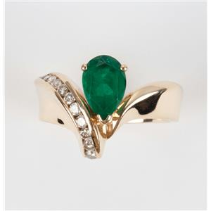 Ladies 14k Yellow Gold Emerald Solitaire Cocktail Ring W/ Diamond Accents 1.6ctw