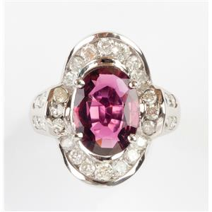 Stunning 14k White Gold Oval Cut Pink Tourmaline & Diamond Cocktail Ring 6.40ctw