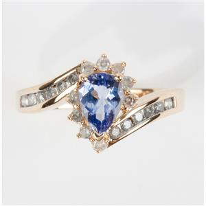 Ladies 14k Yellow Gold Pear Cut Tanzanite & Diamond Cocktail Ring 1.15ctw