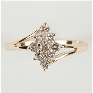 Ladies 14k Yellow & White Gold Round Cut Diamond Cocktail Ring .35ctw