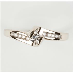 Ladies 14k White Gold Princess Cut Diamond Solitaire Engagement Ring W/ Accents