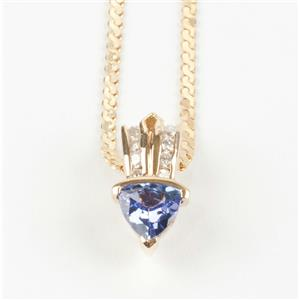 Ladies 14k Yellow Gold Tanzanite Solitaire Necklace W/ Diamond Accents .63ctw