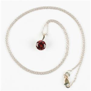 "Ladies 18k White Gold Round Cut ""Pyrope"" Garnet Solitaire Pendant W/ 18"" Chain"