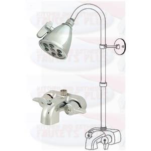 Chrome Clawfoot Tub Add-A-Shower Kit with K138A1 Shower Head