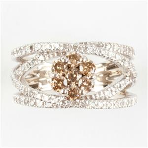 Ladies 14k White Gold Round Cut Champagne Diamond Engagement Ring 1.44ctw
