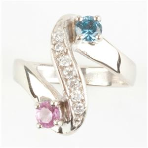 Ladies Unique 14k White Gold Tourmaline / Topaz / Diamond Cocktail Ring .72ctw