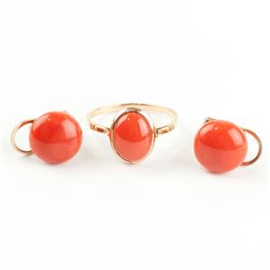 "Ladies 14k Yellow Gold Oval Cabochon Cut ""AA"" Coral Ring / Earring Set"