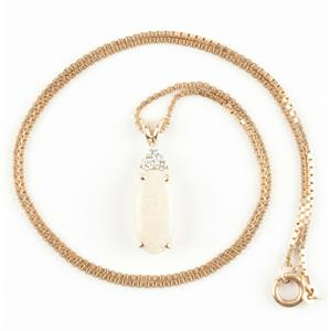"Ladies 14k Yellow Gold Oval Cut ""AAA"" Opal & Diamond Pendant W/ 18"" Chain 4.7ctw"