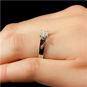 Ladies 14k White Gold & Platinum Diamond Solitaire Engagement Ring .54ct