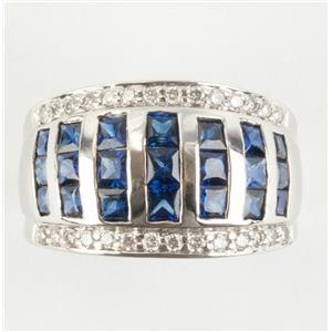 Ladies 14k White Gold Princess Cut Sapphire & Diamond Cocktail Ring 4.26ctw
