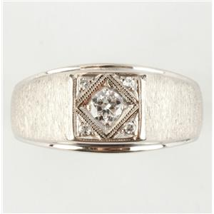 Men's 14k White Gold Diamond Solitaire Signet Ring W/ Diamond Accents .22ctw