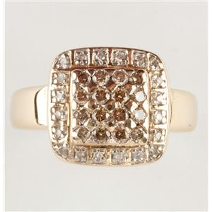 Ladies 14k Yellow Gold Round Cut Cognac Diamond Cluster Cocktail Ring .62ctw