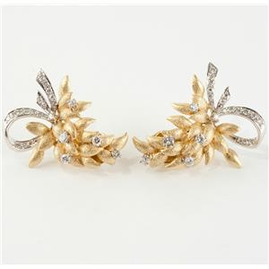 "Ladies 18k Yellow & White Gold Round Cut Diamond ""Leaf"" Clip Earrings .98ctw"