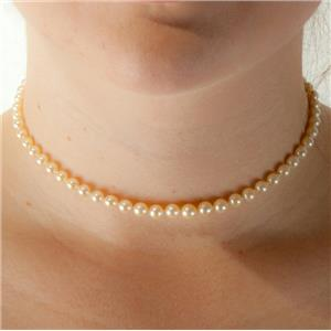 "Ladies 10k Yellow Gold Round Cut Saltwater Pearl Necklace 14"" Length"