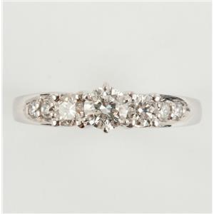Ladies 14k White Gold Round Cut Three-Stone Diamond Engagement Ring .77ctw
