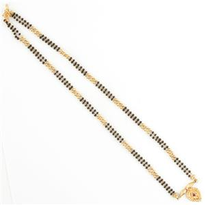 Vintage 1960's 22k Yellow Gold Ruby & Onyx Mangalsutra Beaded Necklace .16ct