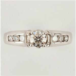 "Ladies 18k White Gold Round Cut ""F"" Diamond Solitaire Engagement Ring .68ctw"